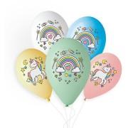 5 Ballons Licorne Rainbow Ø33cm