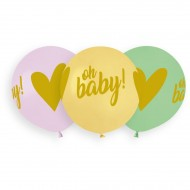 3 Ballons Oh Baby Ø48cm
