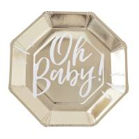 Contient : 1 x 8 Assiettes Gold - Oh Baby!