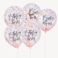 Ballons Confettis Rose - Baby Girl
