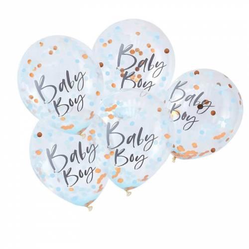 Ballons Confettis Bleu - Baby Boy