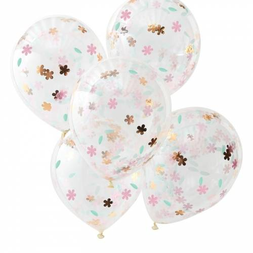 5 Ballons Confettis Fleurs