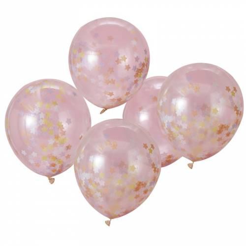 5 Ballons Confettis Etoiles