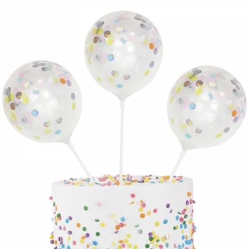 5 Toppers Ballon Confettis Pastel