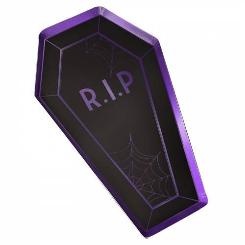 8 Assiettes Cercueil - Purple Halloween