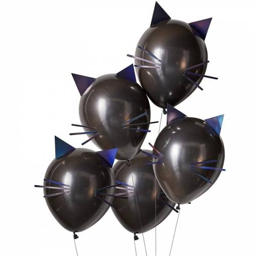 Kit 5 Ballons Chat Noir - Halloween
