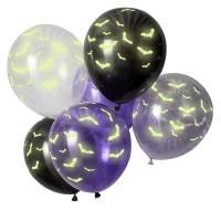 Contient : 1 x 6 Ballons Chauve-Souris - Phosphorescent
