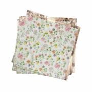 16 Petites Serviettes Fleurs - Rose Gold