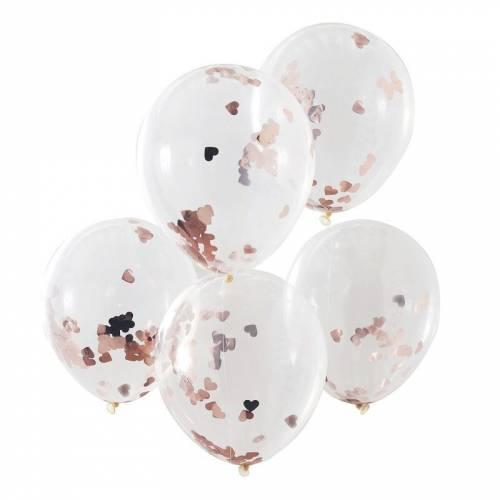 5 Ballons Confettis - Coeurs Rose Gold