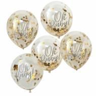 5 Ballons Confettis Oh Baby