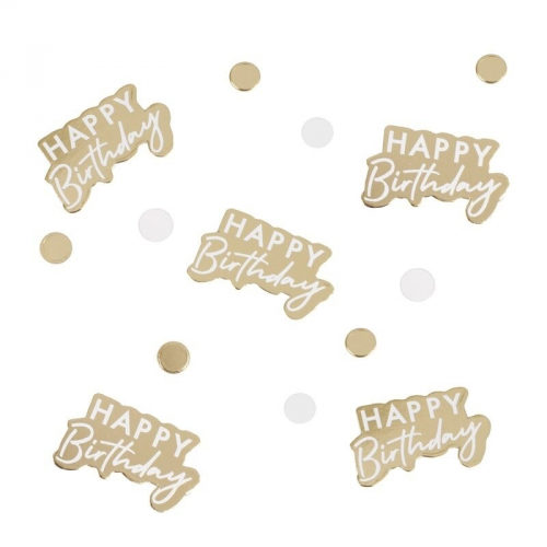 Confettis Happy Birthday Or/Blanc