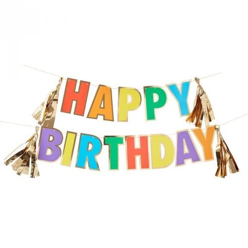 Guirlande Happy Birthday Arc-en-Ciel - 1,5 m