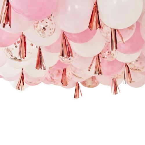 Kit Déco Plafond - Ballons et Tassels Roses et Rose Gold