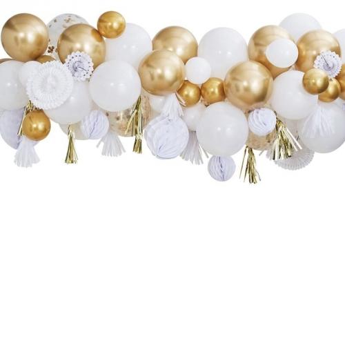 Kit Déco - Guirlande Ballons Or et Blanc