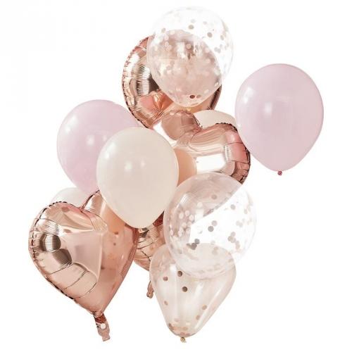 Bouquet 12 Ballons - Rose, Pêche & Rose Gold