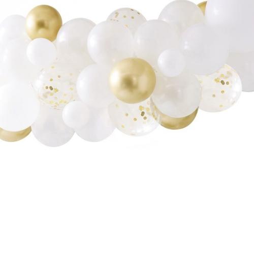 Kit Arche de 55 Ballons - Blanc/Or
