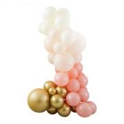 Kit Arche de 75 Ballons - Or Métallique/Pêche