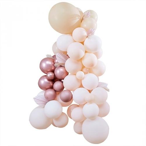 Kit Arche Pampas de 70 Ballons Métalliques - Rose Gold Métallique/Pêche/Caramel