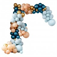 Kit Arche Luxe de 200 Ballons - Or Métallique/Turquoise Métallique/Pêche/Menthe