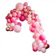 Kit Arche Luxe de 200 Ballons - Rose Gold Métallique/Rose