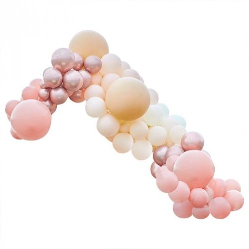 Kit Arche Luxe de 200 Ballons - Rose Gold Métallique/Pêche/Corail/Rose