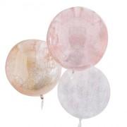 3 Ballons Orbz - Blanc/Rose/Or Métllique Pailleté