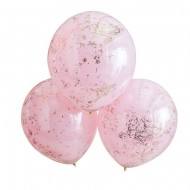 3 Ballons Doubles Couches Confettis - Rose/Rose Gold