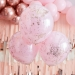 3 Ballons Doubles Couches Confettis - Rose/Rose Gold. n°2