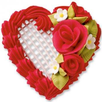 Grand Coeur et fleurs Rouge