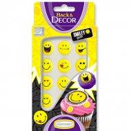 Confettis Smiley sucre à plat Jaune