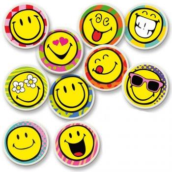 10 Décors ronds Smiley en sucre