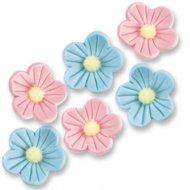 8 Fleurs en sucre Rose et Bleu