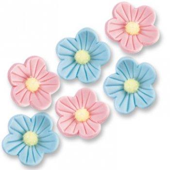 8 fleurs en sucre rose et bleu pour l'anniversaire de votre enfant