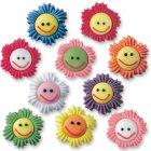 6 Fleurs smiley en sucre