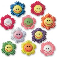 6 Fleurs smiley en sucre