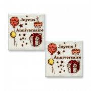 4 Décors carrés Joyeux anniversaire en sucre