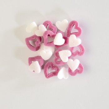 Coeurs blanc/ rose en sucre 50 gr