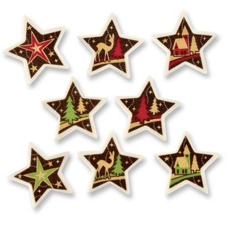 5 Petites Plaquettes Etoiles de Noël en sucre