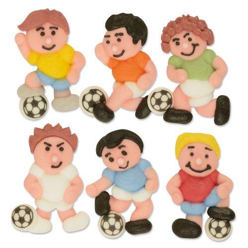 6 Footballeurs en sucre à plat