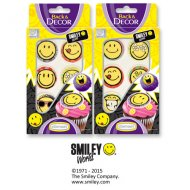 6 Décors Smiley en sucre
