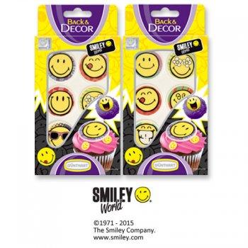 6 Décors Smiley en sucre