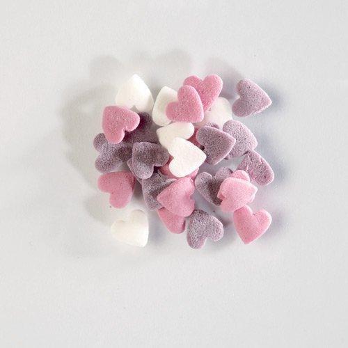 Sachet 50 g Coeurs à parsemer (Blanc/Rose/Parme)