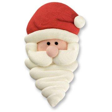 2 Têtes de Père Noël à plat en Sucre (4,5 cm)