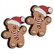 2 Oursons de Noël à plat en Chocolat (4 cm)