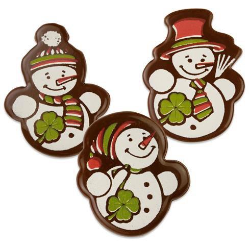 3 Bonhommes de Neige à plat en Chocolat (4 cm)