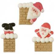 3 Père Noël Cheminée à plat en Sucre (4 cm)