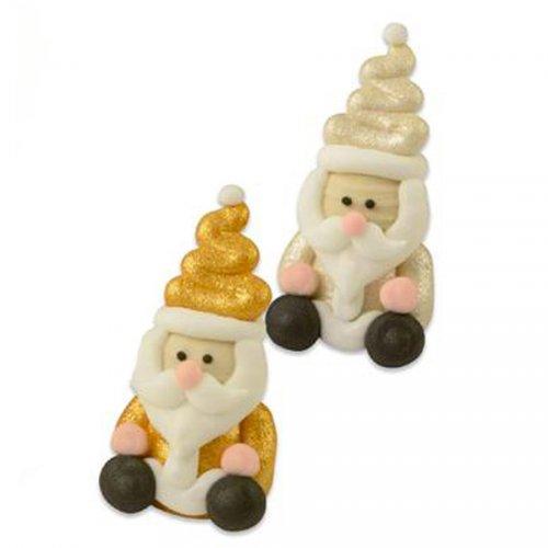 2 Père Noel en Sucre 3D Or et Nacré (4,5 cm)