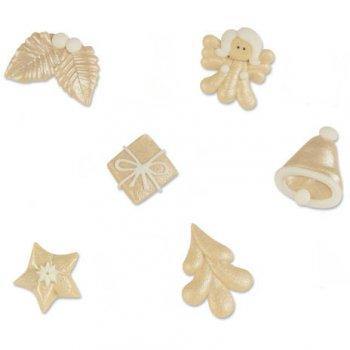 6 Décors Noël Blanc Nacré (3 cm) - Sucre