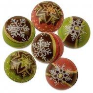 6 Boules Noël 3D en Chocolat Noir (2,5 cm)