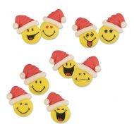 6 Emoji Smiley Xmas (3,5 cm) - Sucre